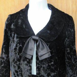 NWT, black nylon velvet jacket & skirt, P. Cardin